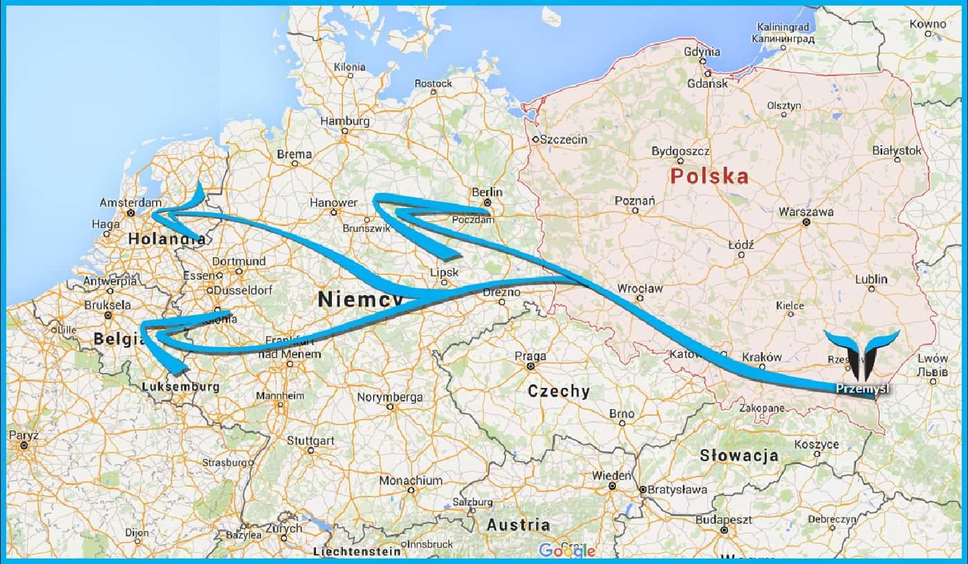 trasa do Holandii i Niemiec